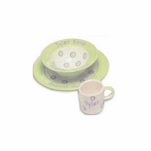 Personalized Baby Dot Dishware - Sweet Pea Green Cup, Bowl & Plate Set Free Shipping