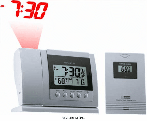 Projection Clock and Wireless Thermometer Set