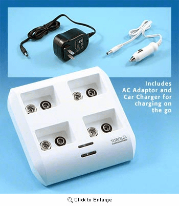 Super Fast Professional Charger For 9 volt NiMh / NiCad Batteries