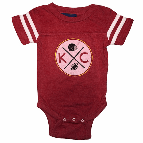 Bunkermade KC Football Infant Onesies<br>Vintage Red