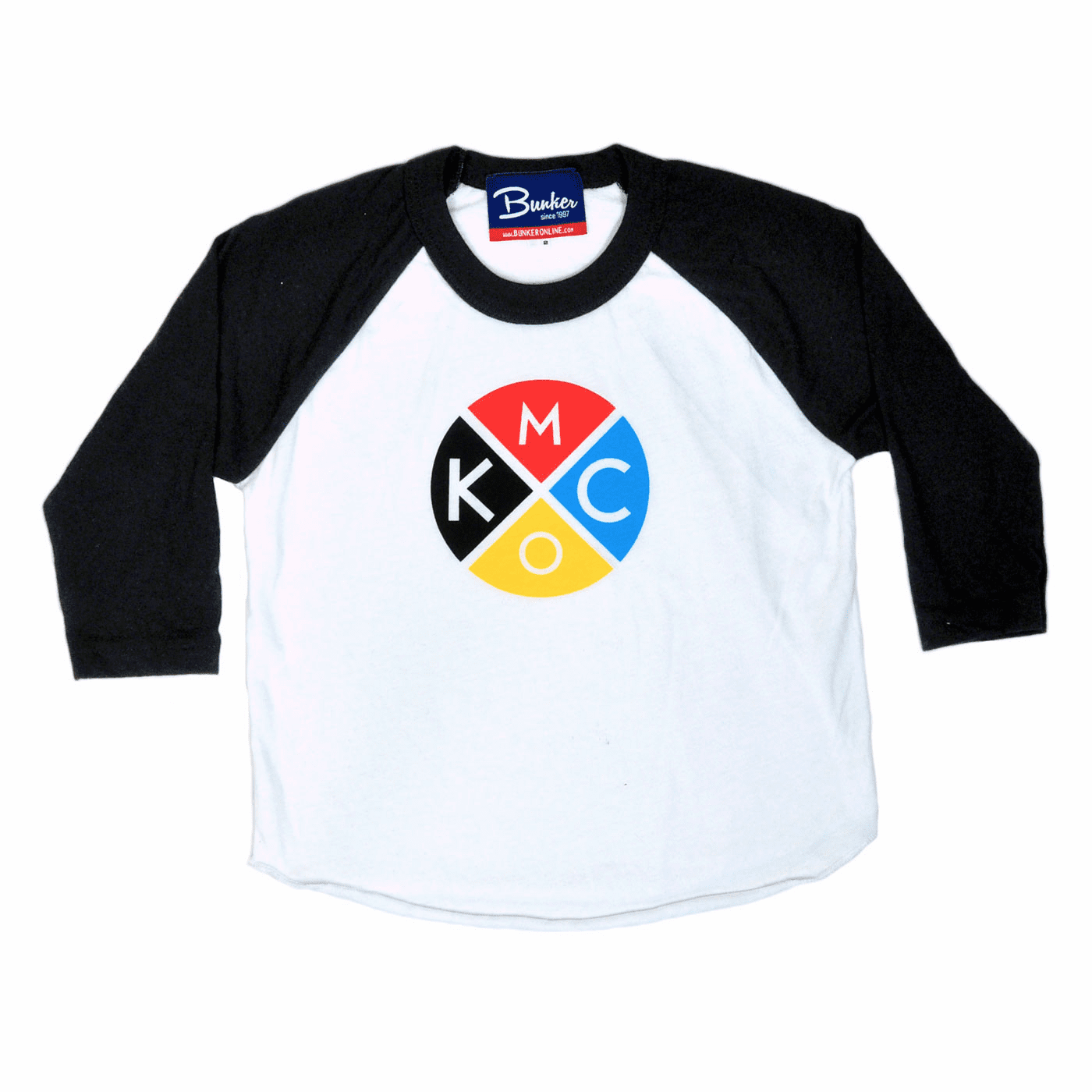 Bunkermade KCMO Baby/Kids Raglan Tee<br>Color Block Black