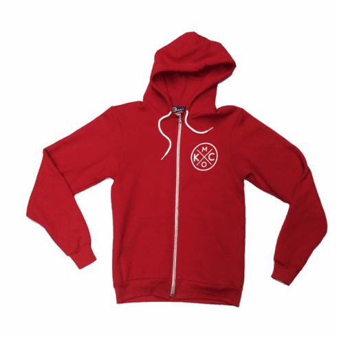 BunkerMade KCMO Unisex Zip Up Hoodie<br>Red
