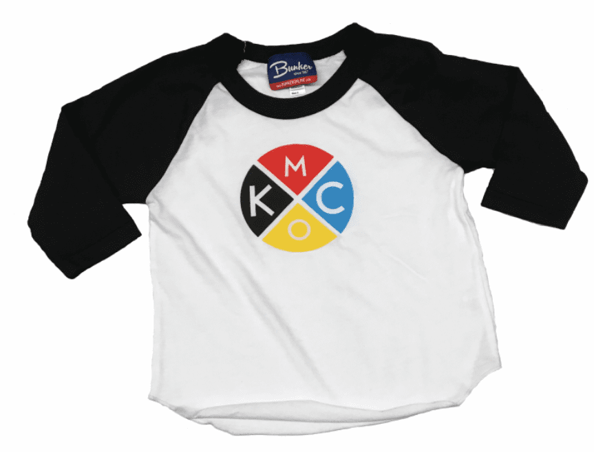 Bunkermade KCMO Youth 3/4 Sleeve Raglan T<br>Color Wheel Black