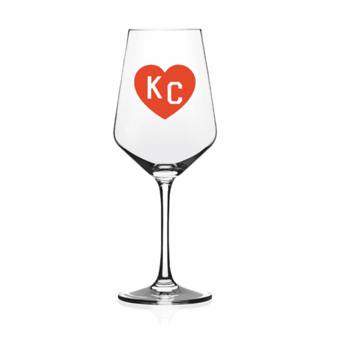 Charlie Hustle KC Heart Wine Glass