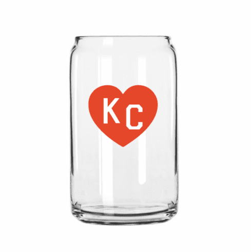 Charlie Hustle Red Heart Beer Can Glass