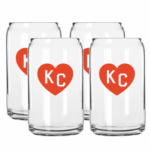Charlie Hustle Red Heart Beer Can Glass - Set of 4