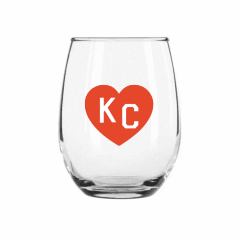 Charlie Hustle Red KC Heart Stemless Wine Glass