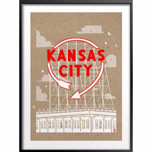Kansas City Auto Sign Art Print