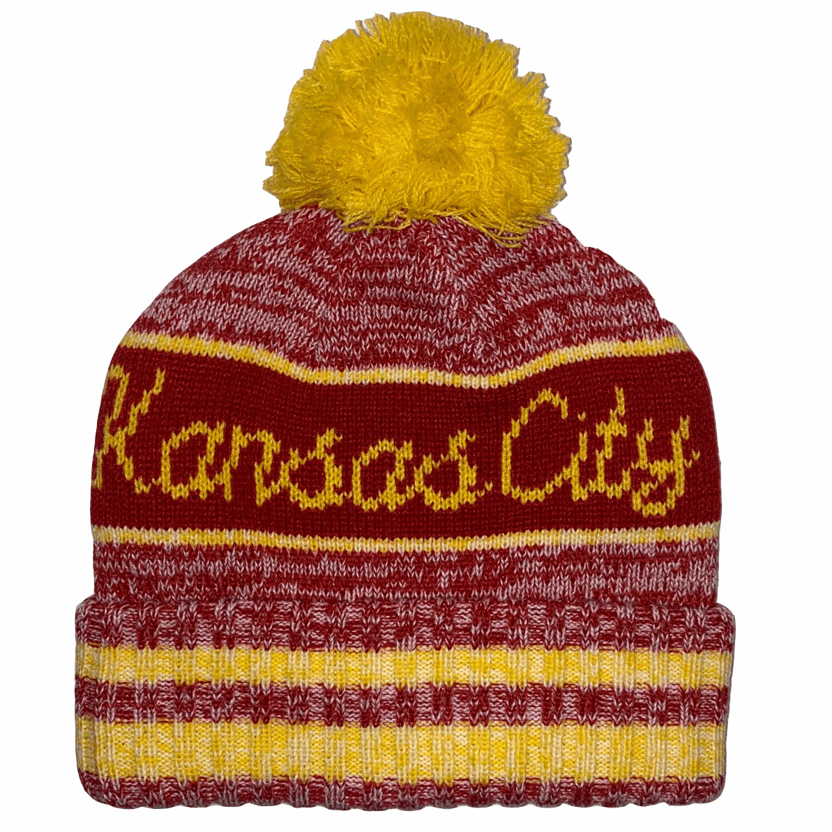 Kansas City Pom Beanie<br>Red/Yellow