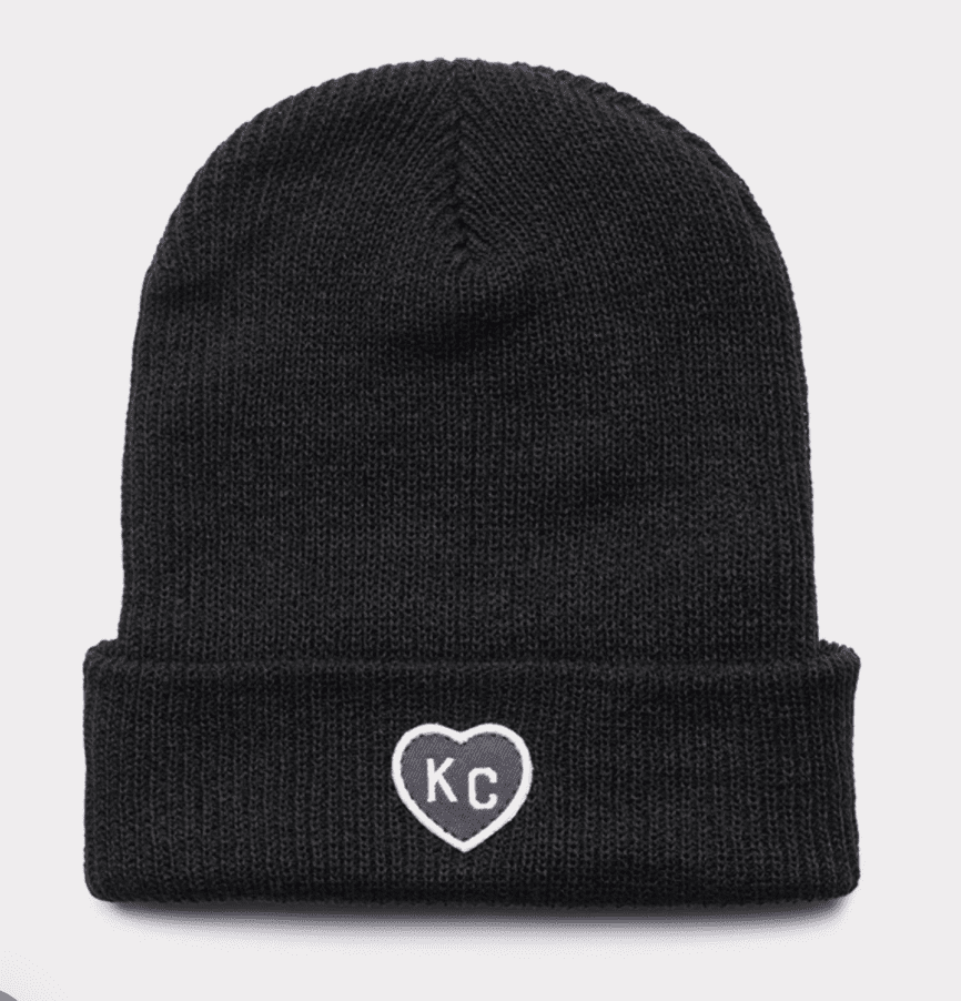 KC Heart Beanie Black and Grey