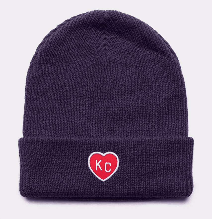 KC Heart Beanie Blue and Red