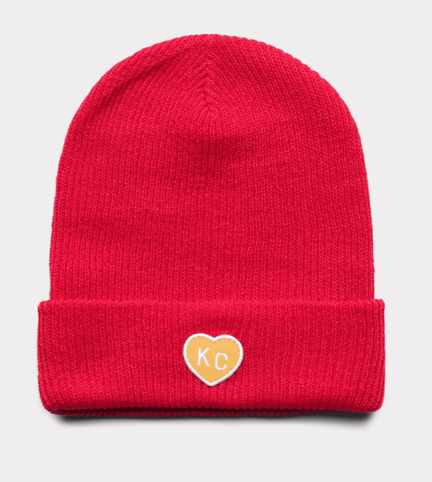 KC Heart Beanie Red and Gold