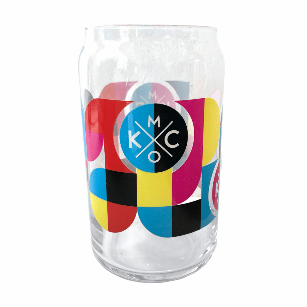 KCMO Beer Can Glass
