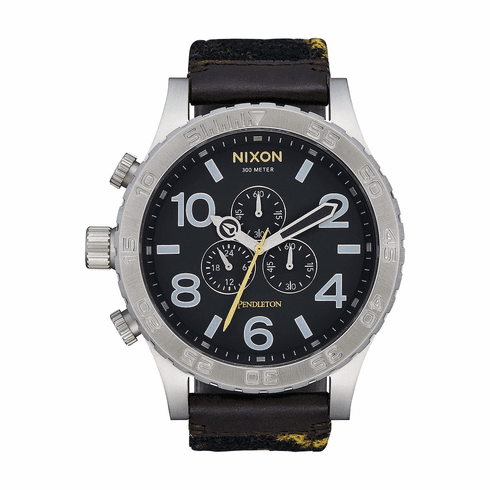 (SALE!!!) Nixon 51-30 Chrono Leather Watch<br>Midnight Eyes