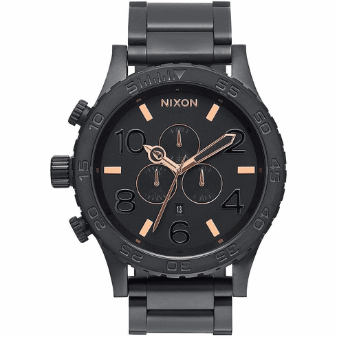 Nixon 51-30 Chrono Watch<br>All Black/Rose Gold