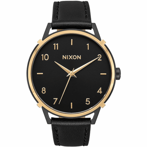 (SALE!!!) Nixon Arrow Leather Watch<br>Black/Gold/Cage