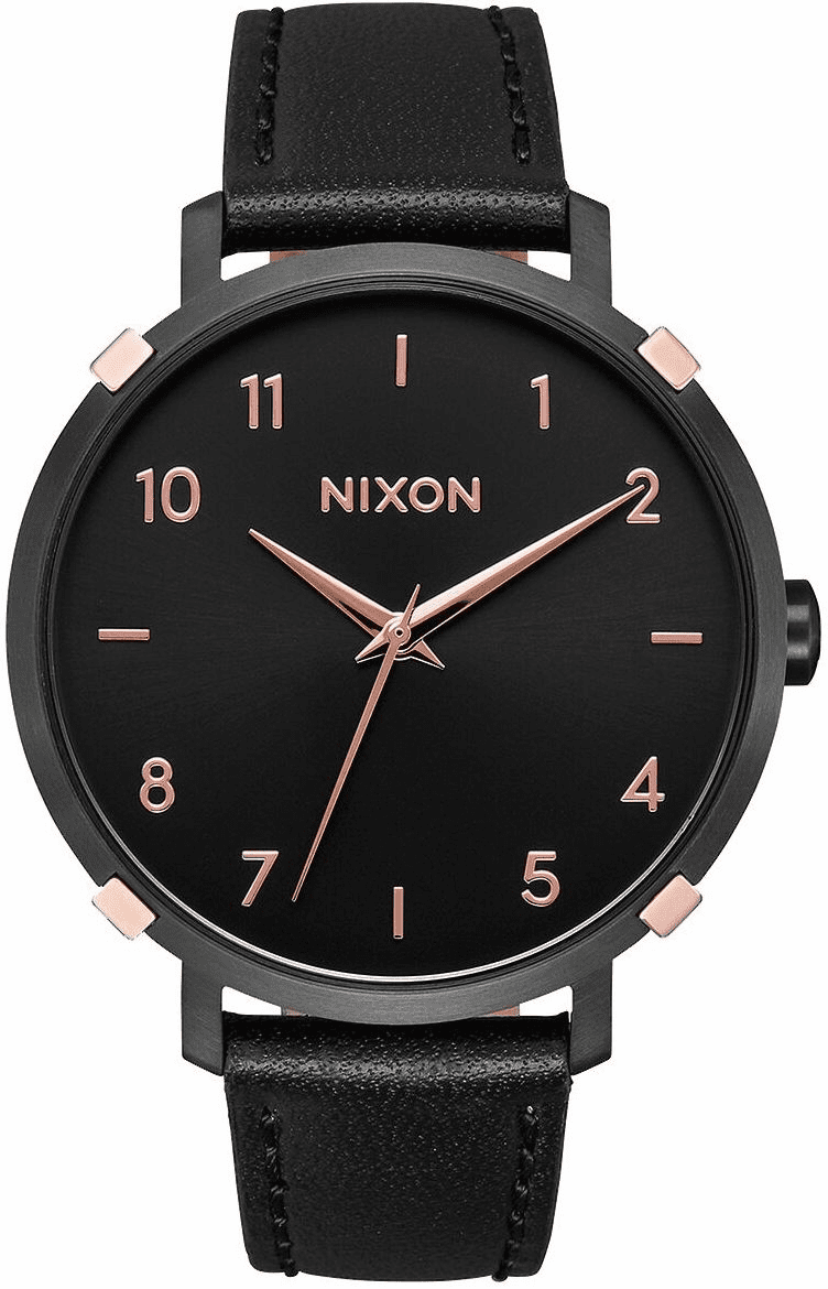 Nixon Arrow Leather Watch<br>Black/Rose Gold/Cage