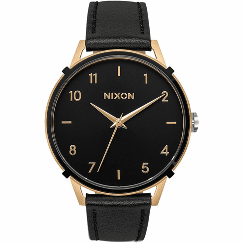 (SALE!!!) Nixon Arrow Leather Watch<br>Gold/Black/Cage
