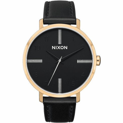(SALE!!!) Nixon Arrow Leather Watch<br>Gold/Black/Silver