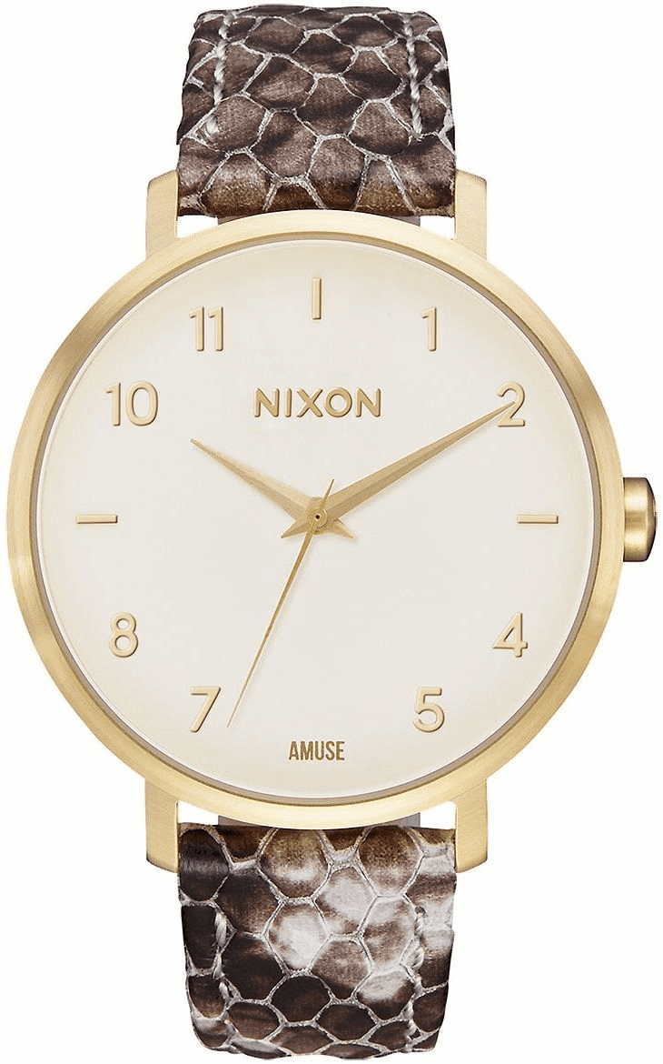 Nixon Arrow Leather Watch<br>Gold/Taupe/Amuse