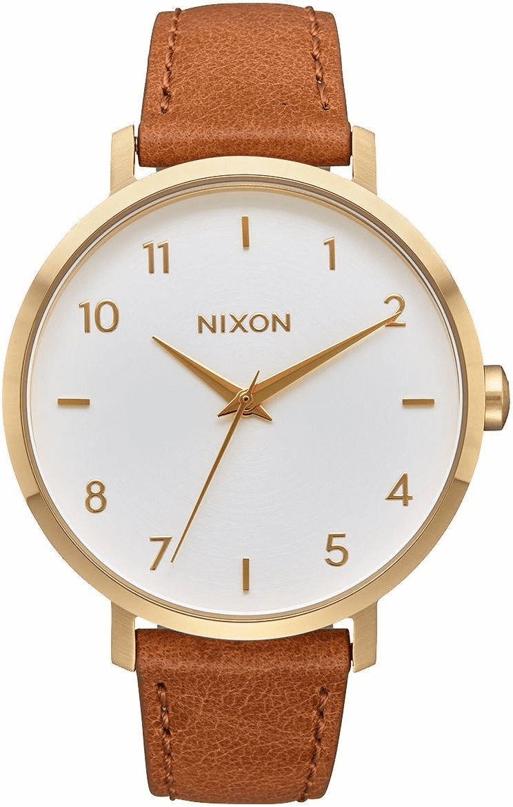 Nixon Arrow Leather Watch<br>Gold/White/Saddle