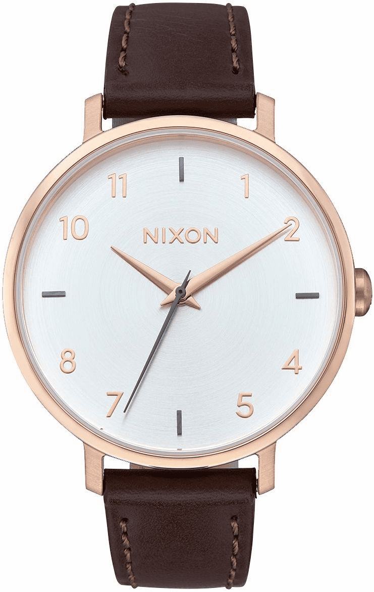 Nixon Arrow Leather Watch<br>Rose Gold/Silver