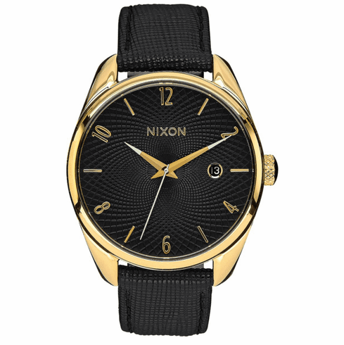 (SALE!!!) Nixon Bullet Leather Watch<br>Gold/Black