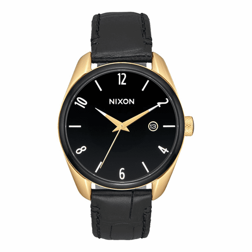 Nixon Bullet Leather Watch<br>Gold/Black/White