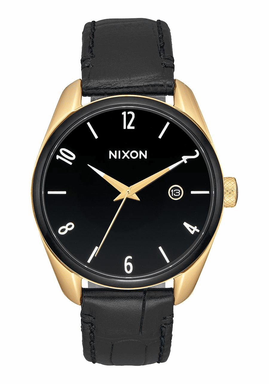 (SALE!!!) Nixon Bullet Leather Watch<br>Gold/Black/White