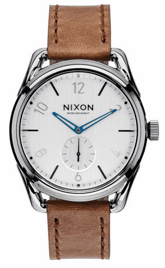 Nixon C39 Leather Watch<br>Gunmetal/Chestnut