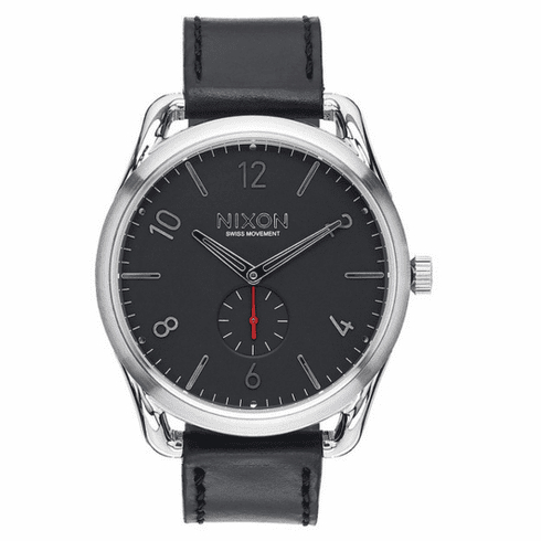(SALE!!!) Nixon C45 Leather Watch<br>Black/Red
