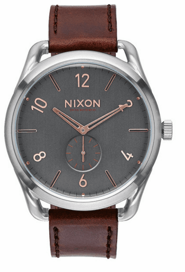 (SALE!!!) Nixon C45 Leather Watch<br>Grey/Rose Gold