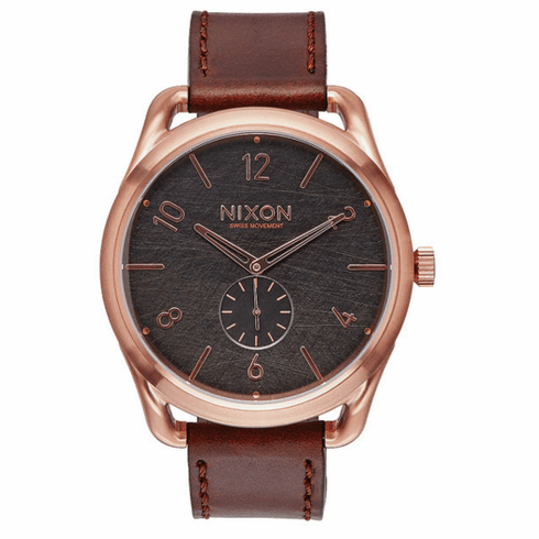 (SALE!!!) Nixon C45 Leather Watch<br>Rose Gold/Brown