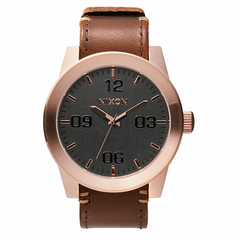 Nixon Corporal Watch<br>Rose Gold/Gunmetal/Brown
