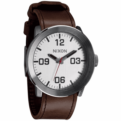 Nixon Corporal Watch<BR>Silver/Brown