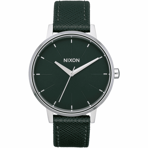 Nixon Kensington Leather Watch<br>Evergreen