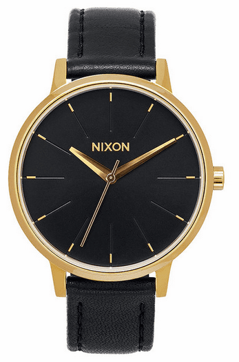 Nixon Kensington Leather Watch<br>Gold/Black