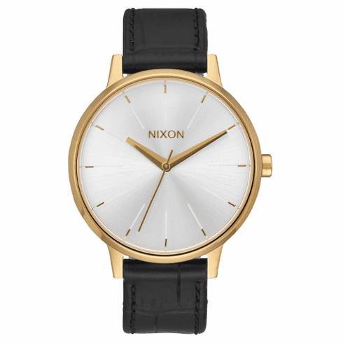 Nixon Kensington Leather Watch<br>Gold/Black Gator