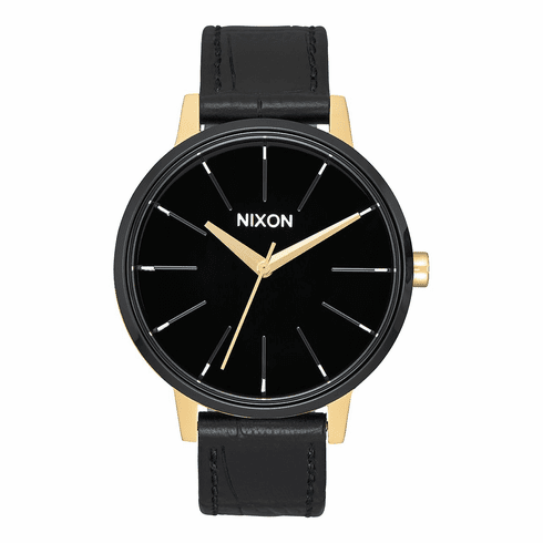 Nixon Kensington Leather Watch<br>Gold/Black/White