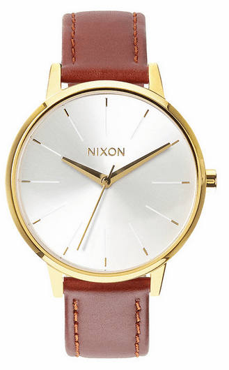 Nixon Kensington Leather Watch<br>Gold/Saddle