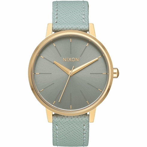 Nixon Kensington Leather Watch<br>Light Gold/Agave