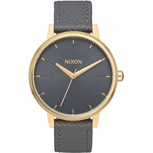 Nixon Kensington Leather Watch<br>Light Gold/Charcoal