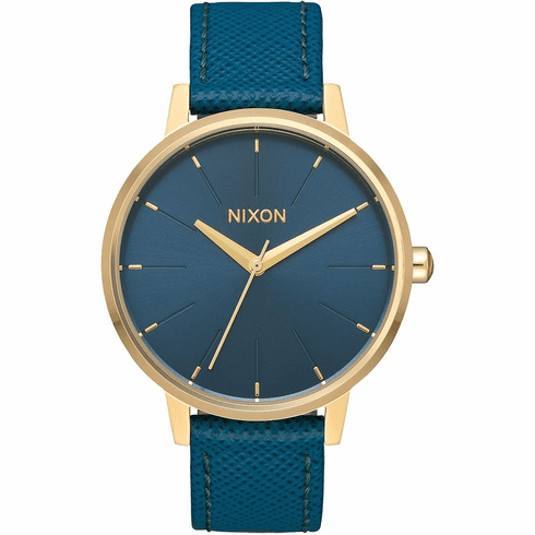 Nixon Kensington Leather Watch<br>Light Gold/Mallard