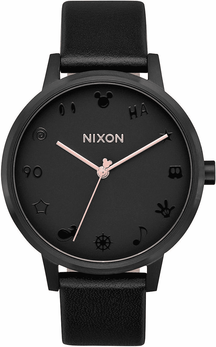 Nixon Kensington Leather Watch<br>MICKEY X NIXON<br>All Black/Rose Gold/Mickey