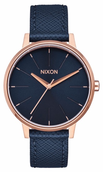 Nixon Kensington Leather Watch<br>Navy/Rose Gold