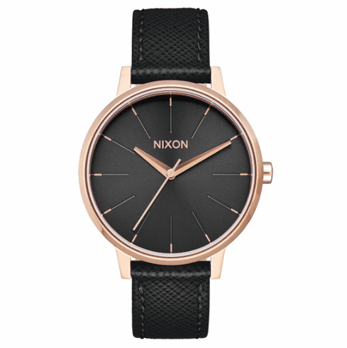 Nixon Kensington Leather Watch<br>Rose Gold/Black