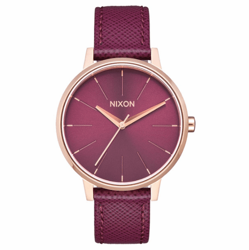 Nixon Kensington Leather Watch<br>Rose Gold/Bordeaux