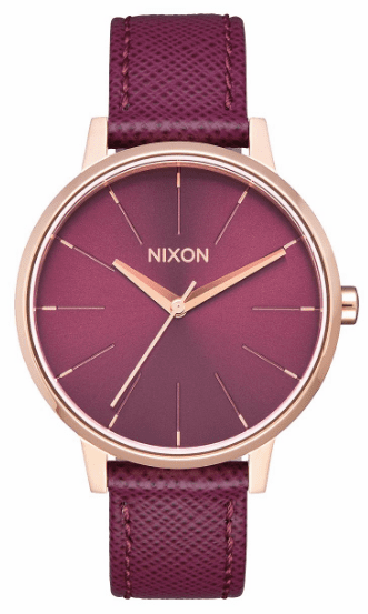 (Sale!!!) Nixon Kensington Leather Watch<br>Rose Gold/Bordeaux
