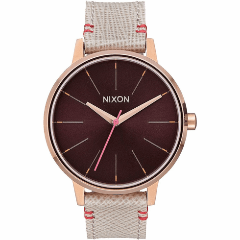 (Sale!!!) Nixon Kensington Leather Watch<br>Rose Gold/Brown