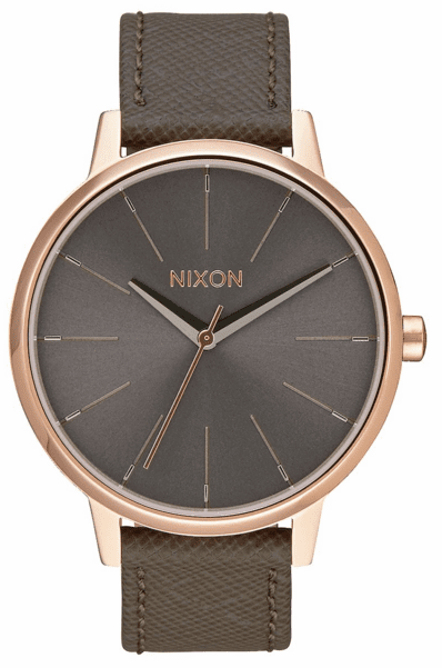 Nixon Kensington Leather Watch<br>Rose Gold/Taupe
